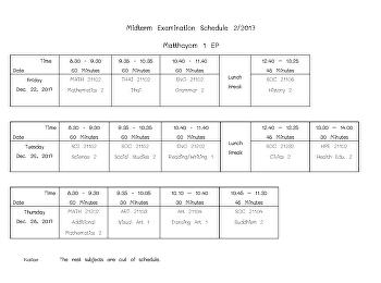 Midterm Examination Schedule 2/2017