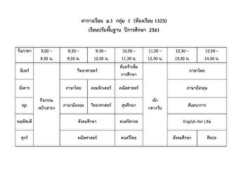 ตารางเรียนปรับพื้นฐาน ปีการศึกษา 2561